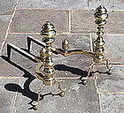 Fine Pair of Antique American Brass and Iron Andirons