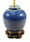 Antique Chinese Blue Glaze Lamp