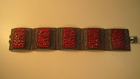 Old Chinese Filigree Silver and Cinnabar Bracelet