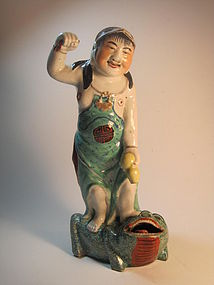 "Early 20th C. Chinese Famille Rose Mudman 13"" Tall"