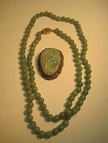 Old Chinese Jade Brooch With Silver and Jade Necklace
