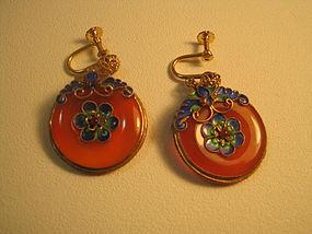 Chinese Silver Gold Wash Enamel Carnelian Earring
