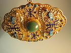 Vintage Chinese Silver /Gold Wash Enamel Jade Pendant