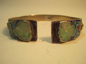 Old Chinese Silver Enamel With Jade Bangle