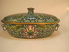 18th C. Chinese Cloisonne Dish With Cover Qianlong Mk