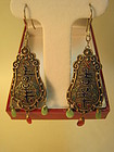 Pair of 19th C. Chinese Silver Enamel Filigree Earrings