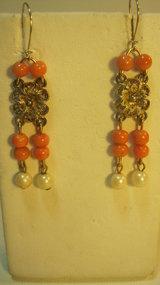 A Pair of Vintage Italian Coral & Pearl Silver Earrings