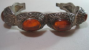 Old Chinese Silver Amber With Filigree Bracelet