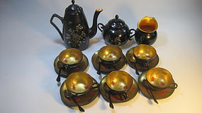 A Beautiful Set Of Old Chinese Lacquer Tea Set Marked