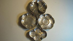 A Group Of 4pcs Chinese Silver Dishes Marked
