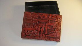 Late 19th C. Chinese Red Cinnabar Lacquer Carved Box