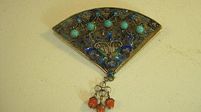 Beautiful Vintage Chinese Silver Enamel Gold Washed Pin