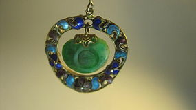 Early 20th C. Chinese Silver Enamel Jadeite Pendant