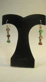 A Pair Of Old Chinese Jadeite Silver Earrings
