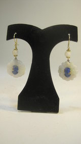 A Pair Of Vintage Chinese Silver White Jade Earrings