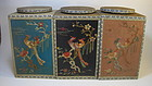 A Group of 3 Wooden Boxes With Silk Embroidery Cover
