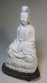 20th C. Chinese White Porcelain Quanyin Buddha