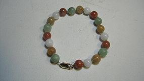 Vintage Chinese Multi Color Jadeite Jade Beads Bracelet