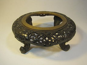 An Old Chinese Gilt Cast Bronze Stand