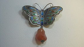 Early 20th C. Chinese Silver Enamel Butterfly Brooch MK