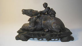 Early 20th C. Chinese Soapstone Carving Boy With Cow