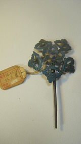 Late Qing Dynasty Chinese Silver Enamel Hair Pin