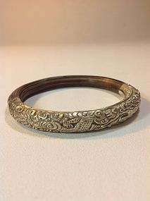 Late 19th C. Chinese Rattan Bamboo Silver Bangle Marked