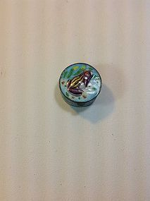 Early 20th C. Chinese Silver Enamel Pill Box Marked