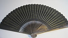 Old Chinese Paper Fan with Embroidery Fan Case