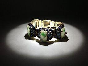 Beautiful Old Chinese Silver Enamel Jadeite Bracelet