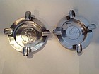 Two Nice Early 20th C. Chinese Export Silver Ashtrays With Coin MK