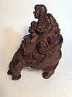 Early 18th C. Chinese Bamboo Carved Three Monks Riding On Buffalo