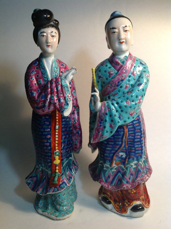 Pair Of Early 20th C. Chinese Famille Rose Porcelain Figurines Mark