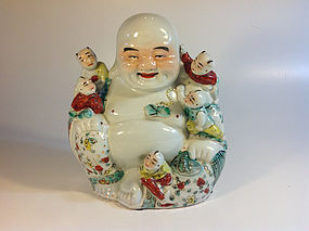 Early 20th C. Chinese Famille Rose Porcelain Buddha Marked