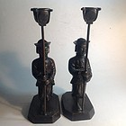 A Pair Of Vintage Chinese Bronze Candlesticks