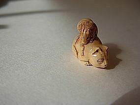 A beautiful old miniature Japanese ivory netsuke