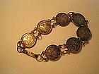 H.K. King George V Silver Coin Chinese Bracelet
