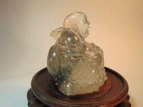 Beautiful 19th C. Chinese Nature Rock Crystal Buddha