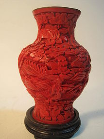 19th C. Chinese Red Lacquer Cinnabar Carved Vase