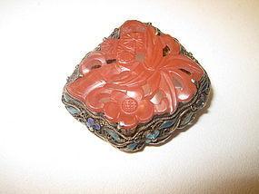 Old Chinese Filigree Enamel Silver Carnelian Brooch