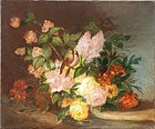 French School Floral Still Life, J. Bell, 1877
