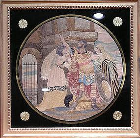 American or English Silk Needlework, Ca. 1800.