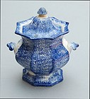Spatter Sugar Bowl and Cover, England, mid-19thC