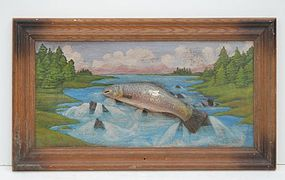 Folk Art Painted Diorama of Fish