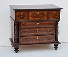 Anglo-Indian Mahogany and Ivory Miniature Chest, 19thC