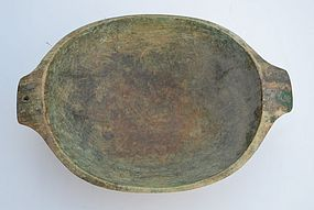 Green Painted Woodenware Bowl, 19thC