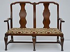 Continental Walnut Baroque Chairback Settee, circa 1760