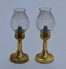 Pair of Brass Lamps with Original Shades, circa 1840