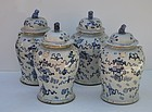 Four Chinese Porcelain Blue and White Jars, circa 1930