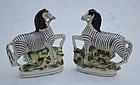 Pair of Staffordshire Pottery Figural Zebras, 19th C